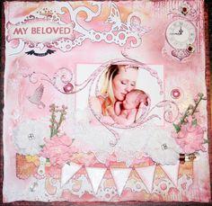 Baby girl scrapbook layout