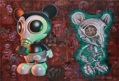 Ron English- Mousemask Murphy and Skeleton