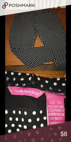 Polk-a-dot Black and White Leggings 2X Women Within leggings.  Nice thickness, no show through areas.  Size 2X.  Black and white Polk-a-dot print.  Excellent condition!   Important:   All items are freshly laundered as applicable prior to shipping (new items and shoes excluded).  Not all my items are from pet/smoke free homes.  Price is reduced to reflect this!   Thank you for looking! Pants Leggings