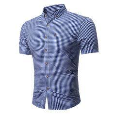 84a377cf9 Mens Personality Contrast Color Casual Solid Color Slim Designer Shirt -  Banggood Mobile Mens Summer T