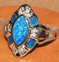 blue fire opal Cz ring Gemstone silver jewelry Sz 8 cocktail vntg style HZ2 #Cocktail