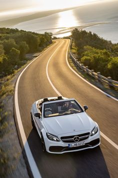 Maximum open-air performance for the C-Class with the new Mercedes-AMG C 63 and C 63 S Cabriolets. [Combined fuel consumption 9.3-8.9 l/100km | combined CO2 emission 218-208 g/km | http://mb4.me/efficiency_statement]