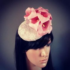 Fascinator hat headpiece in sinamay with lace overlay and lilly trim - Made to order style