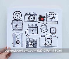 Vintage Camera Art Print, 8x10, Cameras, Photography, I love photography, Nikon, Polaroid, Canon, Diana