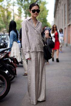 The Pajama look continues at Milan Fashion Week