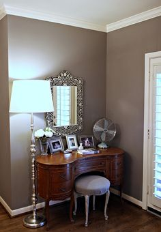 gorgeous taupe color!-our bedroom (**For those who don't have a Restoration Hardware nearby, Sherwin-Williams Dovetail 7018 and Benjamin Moore Eagle Rock 1469 are pretty comparable substitutes.)