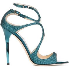 Jimmy Choo Lance Sandals featuring polyvore, fashion, shoes, sandals, blue, blue glitter shoes, blue stilettos, high heels stilettos, strappy stiletto sandals and jimmy choo shoes