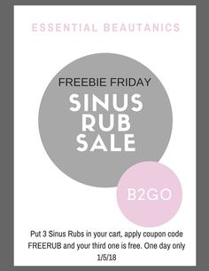 Combat that winter cold with my Sinus Rub. All natural vapor rub without chemicals. Buy 2 and get one free today only!