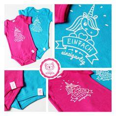 """Babybody mit süßem Einhorn <3 Aufdruck """"einfach einzigartig"""" in tollen Bodyfarben #naehfein #einhorn #pink #türkis #aufdruck #babybody #babybekleidung #niedlich Pink, Unique, Kawaii, Simple, Pink Hair, Roses"""