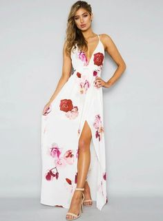 The dress features deep v neck, sleeveless, backless, back cross strap, high slit, floral printed and maxi length.;Polyester, soft and comfortable;The dress features deep v neck, sleeveless, backless, back cross strap, high slit, floral printed and maxi l