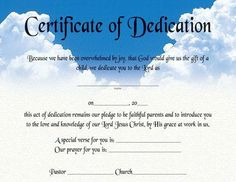 Certificate Of Dedication :: Certificates