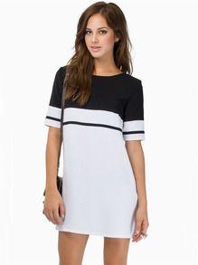 White Black Short Sleeve Color Block Dress US$18.54
