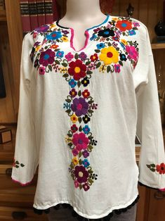 Mexican Natural Manta Blouse Hand Embroidered In Beautiful Embroidery On Kurtis, Embroidery Patterns, Mexican Dresses, Pom Pom Trim, Chic Outfits, Hippie Boho, Tunic Tops, Embroidered Tops, Cotton