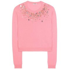 Miu Miu Embellished Cashmere Sweater (22.035 ARS) ❤ liked on Polyvore featuring tops, sweaters, pink, red sweater, wool cashmere sweater, red top, cashmere sweater and embellished tops