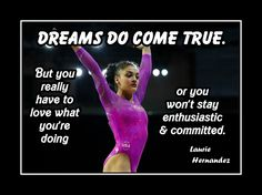 """Gymnastics Motivation Poster Laurie Hernandez Photo Quote Wall Art Print 5x7""""-11x14"""" Dreams Do Come True But U Have To Love What U R Doing by ArleyArt on Etsy"""