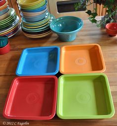 The Little Round Table ~~~  Fiesta Ware newly released napkin trays/holders.  Like this idea!