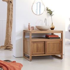 Tikamoon Solid Teak Wood Vanity Cabinet Wash-stand Modern Design Bathroom