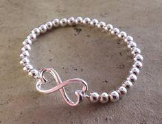 Heart Infinity Bracelet Sterling Silver by HandmadeByLilianaa