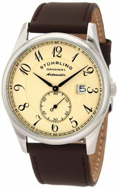 Stuhrling Original Men's 171B.3315K77 Classic Cuvette Automatic Beige Dial Watch Stuhrling Original. $139.00. Water-resistant to 165 feet (50 M). Brown genuine leather strap with stainless steel clasp. Beige simple dial with small seconds subdial and date window. Quality Automatic movement with 34 hours power reserve. Krysterna crystal on front and back with date magnifier. Save 74%!