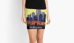 'Lovely Melbourne' Mini Skirt by jollybirddesign Cheer Skirts, Melbourne, Chiffon Tops, V Neck T Shirt, Classic T Shirts, Mini Skirts, Hoodies, People, Collection