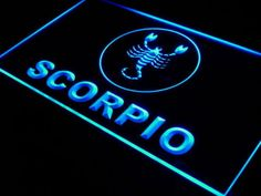 Scorpio Neon Light Sign, no affiliation with seller. Taurus And Scorpio, Scorpio Sign, Scorpio Zodiac, Astrology Zodiac, Zodiac Signs, Lucky Stone, Lucky Colour, Neon Light Signs, Led Signs