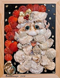 >Seashell Art Objects are Conversation Pieces - Santa clam shells Coastal Christmas Decor, Nautical Christmas, Cottage Christmas, Beach Christmas, Christmas Tree Decorations, Christmas Crafts, Holiday Decorating, Christmas Tables, Purple Christmas