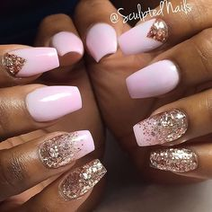 Pastel Pink Ballerina Nails With Rose Gold Glitter.
