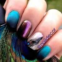 Peacock nails tall, blue and purple