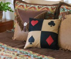 Blackjack Western Pillow by Lizzy & Me. Accented with red heart and diamond, and black spade and club.