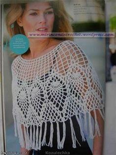 Poncho con diseños de piñas | Mi Rincon de Crochet