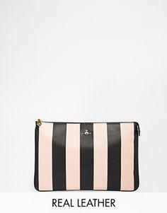 Vivienne Westwood Leather Stripe Clutch in Cream