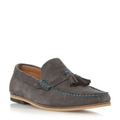 Dune Bonsai suede tassel loafer, Grey