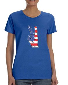 Women's T Shirt American Flag Hand 4th Of July Graphic Tee  #tshirt #america #july4th #usa #women