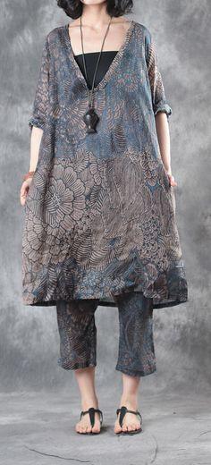 5c0b52d61dc6b Blue prints linen vintage plus size pants casual elastic waist crop pants