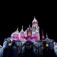 Disneyland castle during the holidays