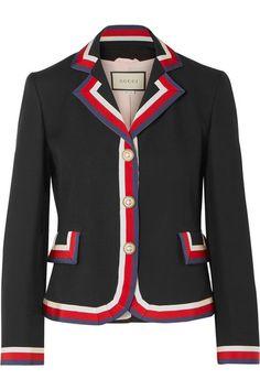 Gucci Striped Silk And Wool-blend Crepe Blazer In Black Blazer En Cuir, Leather Blazer, Striped Jacket, Striped Blazer, Silk Jacket, Jacket Style, J Brand Jeans, Jeans Brands, Tailored Jacket