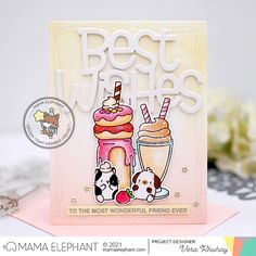 Mama Elephant Stamps, Best Wishes Card, Elephant Design, Shaker Cards, Pretty Cards, Cute Crafts, Halloween Cards, Milkshake, I Card
