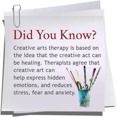 expressive Art therapy activities Creative arts therapy is based on the idea that the creative act can be healing healingcreativity Art Therapy Projects, Art Therapy Activities, Therapy Tools, Play Therapy, Creative Activities, Therapy Ideas, Creative Arts Therapy, Therapy Quotes, Expressive Art