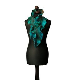 Nuno felted collar nuno felted scarf nuno felted shawl art to wear winter scarf turquoise brown green boho collar with felted brooch OOAK - pinned by pin4etsy.com