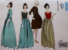 1950s Vintage Vogue 6579 Special Design Evening Gown Jacket Overblouse Pattern w/LABEL by BluetreeSewingStudio on Etsy