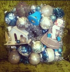 """vintage 9"""" Square Shiny Brite Stencil Mercury Christmas Ornament wreath putz --This is full of holiday cheer!  How great would he look in a wall grouping!"""