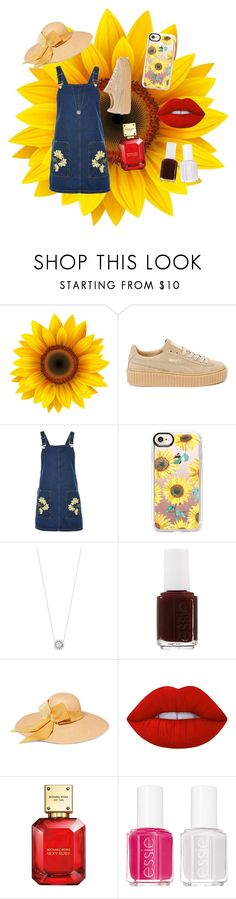 """spectacular sunflowers"" by sunswept ❤ liked on Polyvore featuring Puma, Topshop, Casetify, Georg Jensen, Essie, Sensi Studio, Lime Crime and Michael Kors"