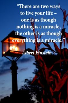 """There are Two Ways to Live your Life – One is as Though Nothing is a Miracle, the other is as Though Everything is a Miracle"" Miracle of the Brillant Albert Einstein..."
