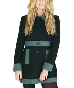 Take a look at this Black & Gray Color Block Wool-Blend Coat by Tulle on #zulily today!