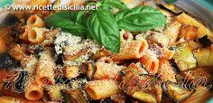 Pasta alla Norma with aubergines and tomato