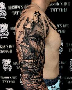 101 Amazing Ship Tattoo Ideas That Will Blow Your Mind! Tatoo Pirate, Pirate Tattoo Sleeve, Ship Tattoo Sleeves, Nautical Tattoo Sleeve, Pirate Ship Tattoos, Nautical Tattoos, Pirate Ship Tattoo Thigh, Pirate Skull Tattoos, Cool Arm Tattoos