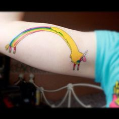 #WANT #gimmie #ladyrainacorn  #adventuretime #ink #adventuretimetattoo #unicorn #rainbow #obsessed #armtatt #strong #radical #gottagetthis