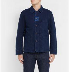 Blue Blue JapanPatchwork-Detailed Indigo-Dyed Denim Jacket