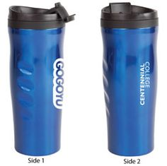 double walled thermoplastic tumbler Side indents for ergonomic grip Easy flip top lid Suitable for hot and cold beverages Available in Blue, Green, Red, Charcoal, Purple and Copper Cold Drinks, Beverages, Holiday Drinkware, Purple, Blue Green, Tumbler, Water Bottle, Charcoal, Copper