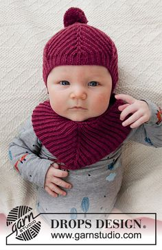 Knitted hat and bib for babies, with English rib in DROPS BabyMerino. Baby Knitting Patterns, Baby Hats Knitting, Knitting For Kids, Baby Patterns, Free Knitting, Knitted Hats, Drops Design, Baby Gifts To Make, Cute Baby Gifts